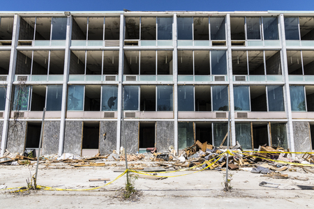 blighted: Lafayette - Circa June 2017: Abandoned Hotel Property, Vandals and thieves have stolen many of the televisions and furniture IV