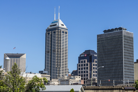Indianapolis - Circa June 2017: Indys Downtown Skyline on a Sunny Day with the newly renamed Salesforce Tower VII