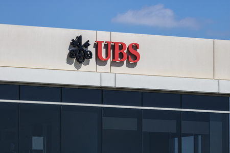 Indianapolis - Circa June 2017: UBS sign and logo. UBS AG is a Swiss global financial services company I