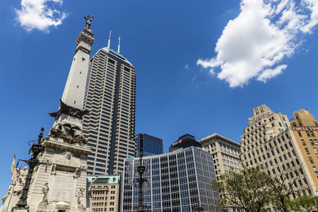 Indianapolis - Circa June 2017: Indianapolis Downtown Skyline on a Sunny Day from Monument Circle including the Salesforce and BMO Harris towers V