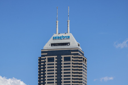 recently: Indianapolis - Circa June 2017: Recently renamed Salesforce Tower. Salesforce.com is a cloud computing company and will add 800 new jobs to Indianapolis V