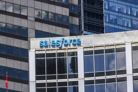 Indianapolis - Circa June 2017: Recently renamed Salesforce Tower. Salesforce.com is a cloud computing company and will add 800 new jobs to Indianapolis III