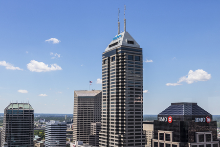 Indianapolis - Circa June 2017: Indianapolis Downtown Skyline on a Sunny Day including the Salesforce, BMO Harris and KeyBank towers I