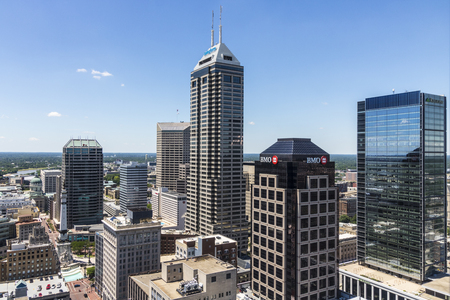 Indianapolis - Circa June 2017: Indianapolis Downtown Skyline on a Sunny Day including the Salesforce, BMO Harris, Regions Bank, and KeyBank towers II Editorial