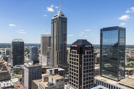 Indianapolis - Circa June 2017: Indianapolis Downtown Skyline on a Sunny Day including the Salesforce, BMO Harris, Regions Bank, and KeyBank towers III Editorial