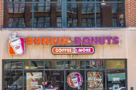 Indianapolis - Circa June 2017: Dunkin Donuts Retail Location. Dunkin is Americas favorite every day, all-day stop for coffee and baked goods VII Editorial