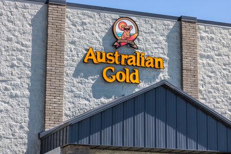 인디애나 폴리스 - 2017 년 7 월경 : 호주 금 본부. Australian Gold는 선탠 및 태양 보호 제품을 제조합니다. 에디토리얼