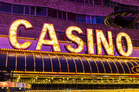 Las Vegas - Circa July 2017: Neon Casino Sign at the Fremont Street Experience. Fremont Street is the anchor of Downtown II