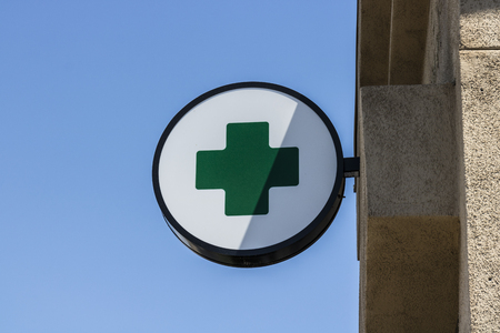 Las Vegas - Circa July 2017: Green Cross sign. The green cross is a common symbol used in the marijuana community. A number of states have legalized pot for recreational use I