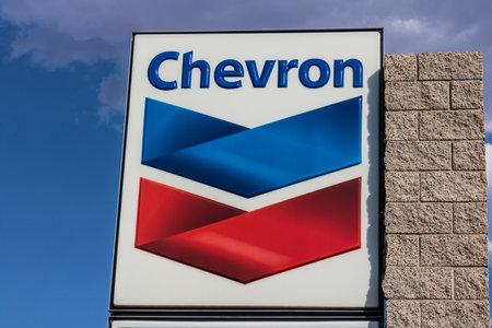 Las Vegas - Circa juli 2017: Chevron Retail-tankstation. Chevron vindt zijn wortels in de Standard Oil Corporation III