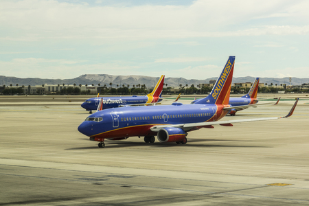 Las Vegas - Circa July 2017: Southwest Airlines Boeing 737s preparing for departure. Southwest is the largest low-cost carrier in the world II Editorial