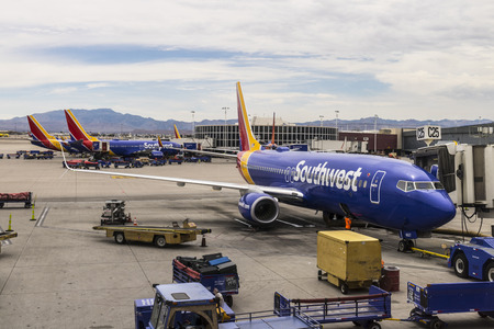 Las Vegas - Circa July 2017: Southwest Airlines Boeing 737s preparing for departure. Southwest is the largest low-cost carrier in the world I 報道画像