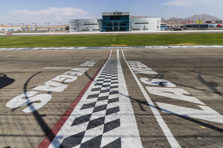 Las Vegas - Circa July 2017: Start Finish line at Las Vegas Motor Speedway. LVMS hosts NASCAR and NHRA events including the Pennzoil 400 VII Editorial