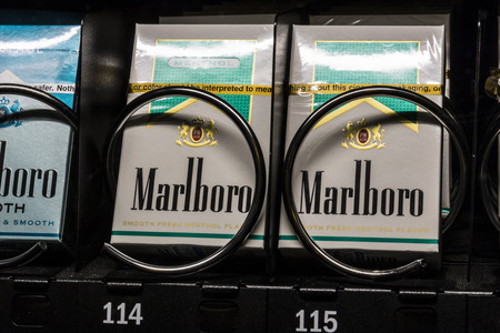Las Vegas - Circa July 2017: Packs of Marlboro Cigarettes in a vending machine. Marlboro is a product of the Altria Group III