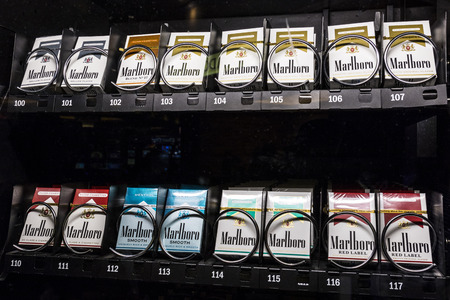 Las Vegas - Circa July 2017: Packs of Marlboro Cigarettes in a vending machine. Marlboro is a product of the Altria Group IV