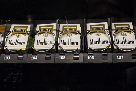 Las Vegas - Circa July 2017: Packs of Marlboro Cigarettes in a vending machine. Marlboro is a product of the Altria Group II Editorial