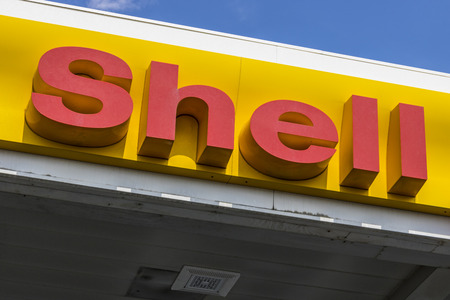 Las Vegas - Circa July 2017: Signage and Logo of Shell Gasoline. Royal Dutch Shell plc is based in The Hague, Netherlands V