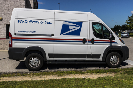 Indianapolis - Circa July 2017: USPS Post Office Mail Truck. The USPS is Responsible for Providing Mail Delivery VI
