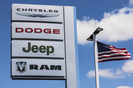 Indianapolis - Circa July 2017: Logo and Dealership Signage of the four American Subsidiaries of FCA - Chrysler, Dodge, Jeep and Ram Trucks VII