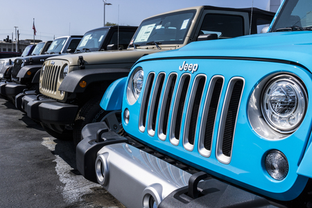 Kokomo - Circa August 2017: Jeep Automobile Dealership. Jeep is a subsidiary of Fiat Chrysler Automobiles. FCA is the parent company of Dodge, Chrysler, and Ram Trucks IV Editorial