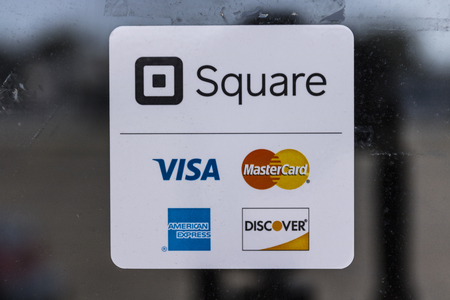 Kokomo - Circa August 2017: Modern credit methods including Square, Visa, Master Card, American Express and Discover II