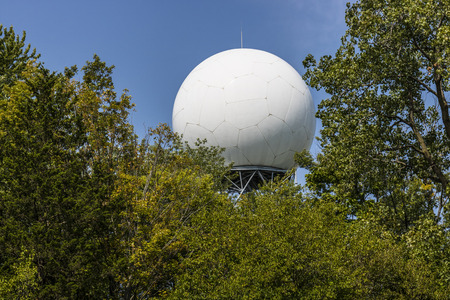 Doppler weather radar hidden by trees I