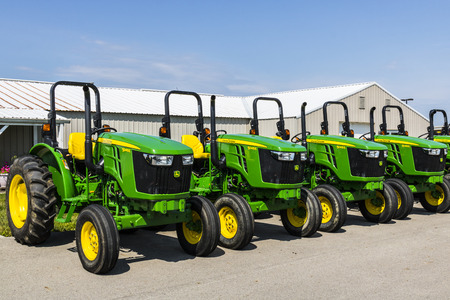 Indianapolis - Circa August 2017: 5045E Tractors at a John Deere Dealership. Deere manufactures agricultural, construction, and forestry machinery