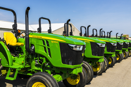 indianapolis: Indianapolis - Circa August 2017: 5045E Tractors at a John Deere Dealership. Deere manufactures agricultural, construction, and forestry machinery