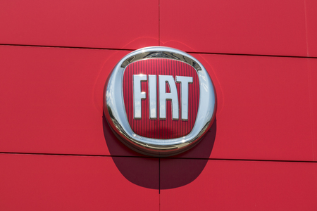 Indianapolis - Circa August 2017: Logo and signage of local Fiat dealership. Fiat is part of FCA and sells both 500 and Abarth vehicles