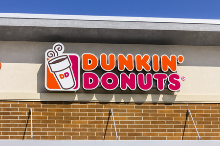Zionsville - Circa September 2017: Dunkin Donuts Retail Location. Dunkin is Americas favorite every day, all-day stop for coffee and baked goods VIII Editorial