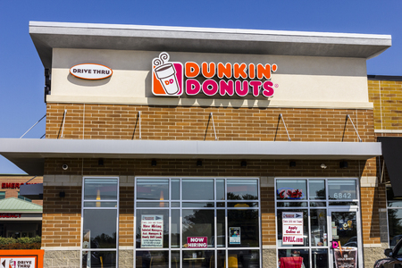 Zionsville - Circa September 2017: Dunkin Donuts Retail Location. Dunkin is Americas favorite every day, all-day stop for coffee and baked goods XI Editorial