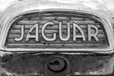 old english: Indianapolis - Circa September 2017: Insignia and emblem from a classic 60s Jaguar IV Editorial