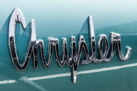 Indianapolis - Circa September 2017: Classic Badge Emblem from a 1963 Chrysler 300 I