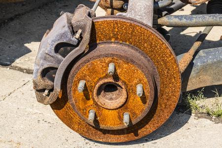 Rusty Brake Rotor in a Junkyard I