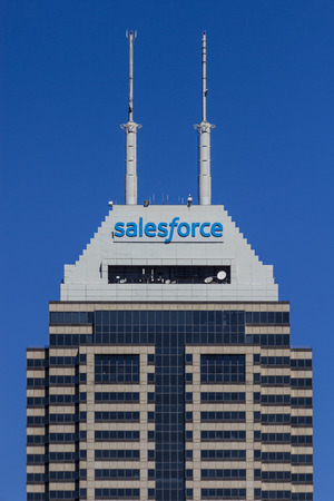 Indianapolis - Circa September 2017: Recently renamed Salesforce Tower. Salesforce.com is a cloud computing company and will add 800 new jobs to Indianapolis