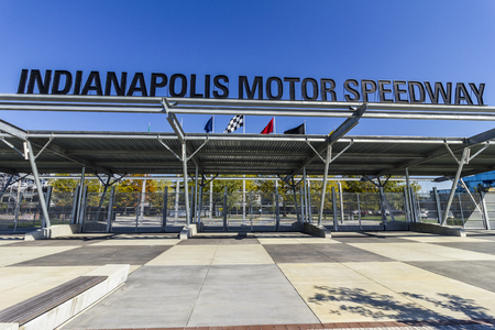 Indianapolis - Circa October 2017: Fall Colors at the Indianapolis Motor Speedway Gate 1 Entrance. IMS Hosts the Indy 500 and Brickyard 400 Auto Races I