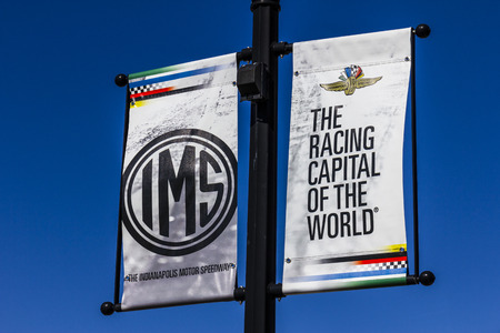 Indianapolis - Circa October 2017: IMS Banners in Speedway, Home of the Indianapolis Motor Speedway. IMS Hosts the Indy 500 and Brickyard 400 Auto Races III