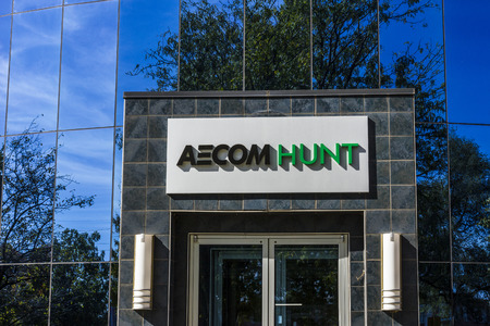 Indianapolis - Circa October 2017: AECOM Hunt Construction Group headquarters. AECOM Hunt is a builder of large projects including sports stadiums airports and medical facilities I Editorial