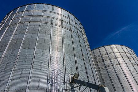 Indianapolis - Circa October 2017: Pair of Brock Stiffened Grain Bins. Brock is a Division of CTB, a Berkshire Hathaway Company II