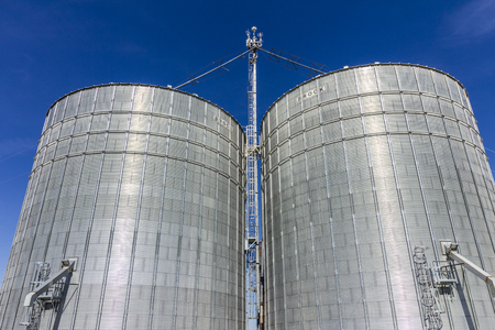Indianapolis - Circa October 2017: Pair of Brock Stiffened Grain Bins. Brock is a Division of CTB, a Berkshire Hathaway Company I Editorial