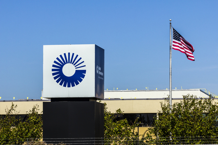 Indianapolis - Circa October 2017: United Technologies Factory with American flag. UTC Provides a Broad Range of High-Technology Products IV Editorial