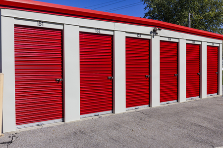 Numbered self storage and mini storage garage units I