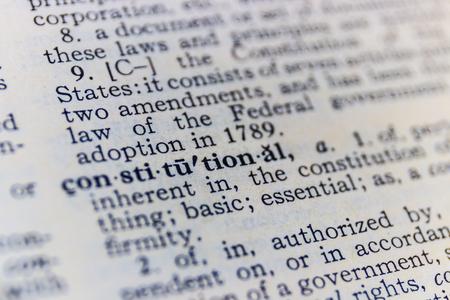 Constitutional dictionary definition closeup I