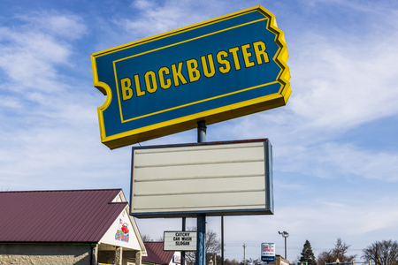 Peru - Circa November 2017: Defunct Blockbuster Video Retail Location. Blockbuster symbolized industries that did not keep up with technology I