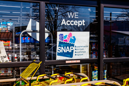 Muncie - Circa January 2018: A Sign at a Retailer - We Accept SNAP Editorial