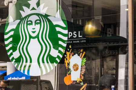 Indianapolis - Circa September 2016: Starbucks Retail Coffee Store. Starbucks is Serving Pumpkin Spice Lattes VI