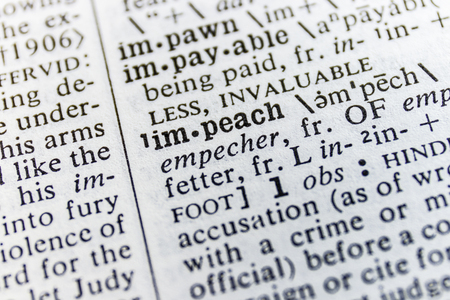 Dictionary Definition Close Up of Impeach Stock Photo