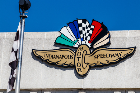 Indianapolis - Circa March 2018: Logo and signage of the Indianapolis Motor Speedway. IMS Hosts the Indy 500 and Brickyard 400 Auto Races II Editorial