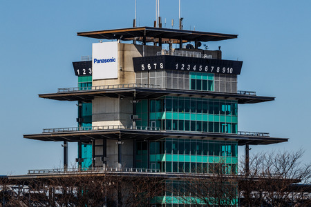 Indianapolis - Circa March 2018: The Panasonic Pagoda at Indianapolis Motor Speedway. IMS Prepares for the 102nd Running of the Indy 500 III Editorial