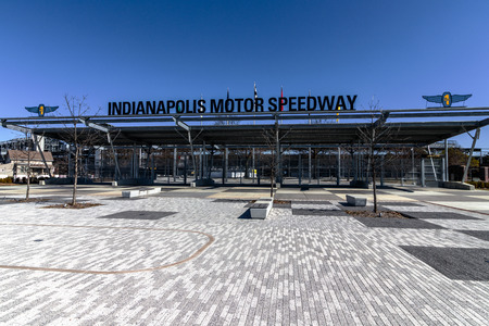 Indianapolis - Circa March 2018: Indianapolis Motor Speedway Gate 1 Entrance. IMS Hosts the Indy 500 and Brickyard 400 Auto Races V